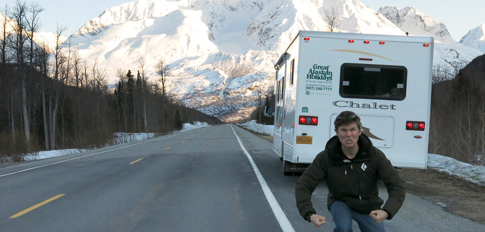 Mikey Allen on road to Valdez Alaskan snowboard trip
