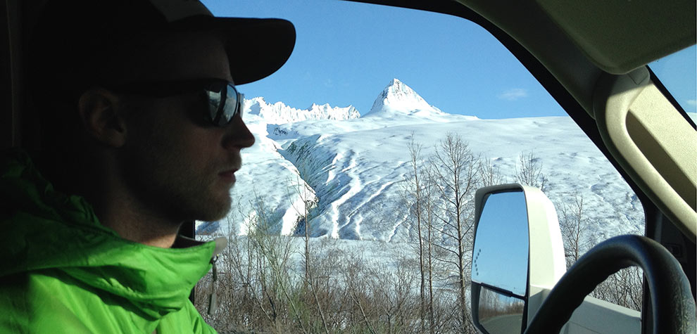 Big rig Reid driving the RV over Thompson Pass