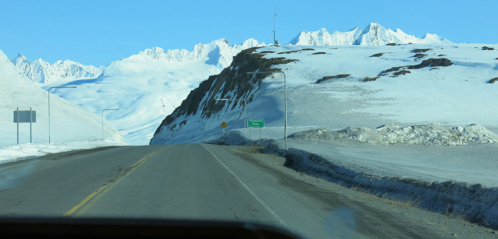 Driving over Thompson Pass AK