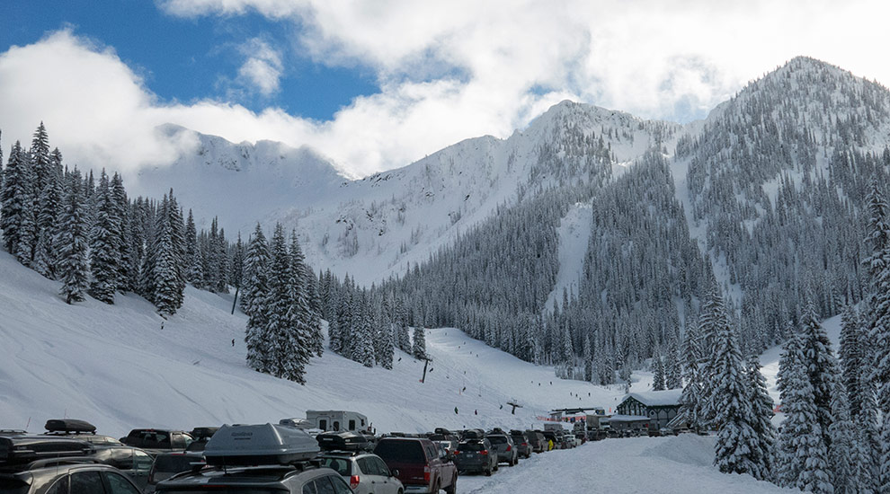 Whitewater ski area parking lot view of the main bowl