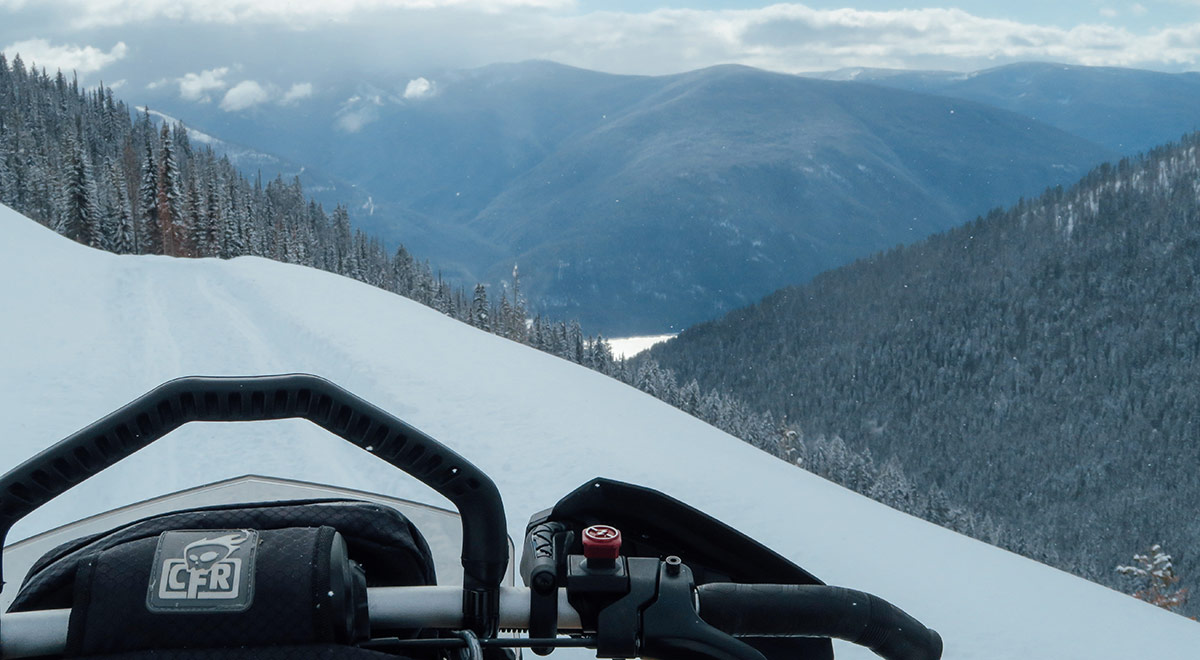 snowmobile trail view of Kootenay Lake